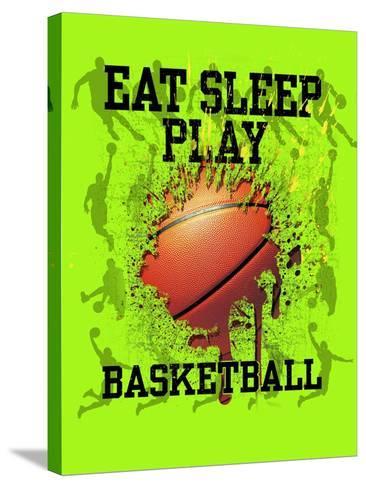 Eat Sleep Play Basketball-Jim Baldwin-Stretched Canvas Print