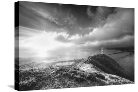 Mist and Sun at Golden Gate Bridge, Black and White, San Francisco-Vincent James-Stretched Canvas Print
