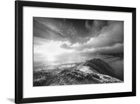 Mist and Sun at Golden Gate Bridge, Black and White, San Francisco-Vincent James-Framed Art Print
