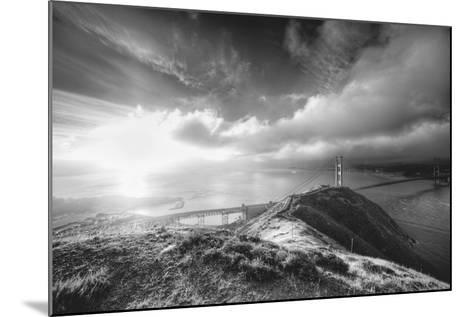 Mist and Sun at Golden Gate Bridge, Black and White, San Francisco-Vincent James-Mounted Photographic Print