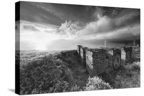Morning Mist at Golden Gate Bridge, Black and White, San Francisco-Vincent James-Stretched Canvas Print