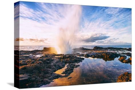Spouting Horn Power at Sunrise, South Kauai, Poipu Hawaii-Vincent James-Stretched Canvas Print