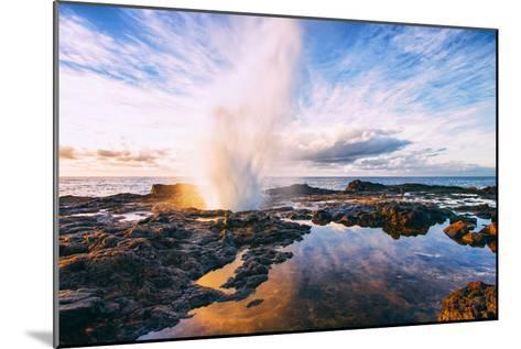 Spouting Horn Power at Sunrise, South Kauai, Poipu Hawaii-Vincent James-Mounted Photographic Print