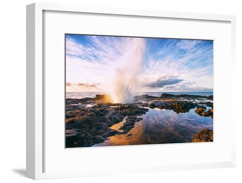 Spouting Horn Power at Sunrise, South Kauai, Poipu Hawaii-Vincent James-Framed Art Print