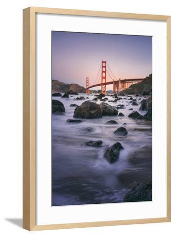 Simple Peaceful Morning Shore, Golden Gate Bridge, San Francisco-Vincent James-Framed Art Print