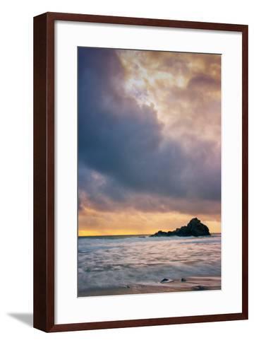 Stormy Sunset Skies at Big Sur, Pfieffer Beach, California Coast-Vincent James-Framed Art Print