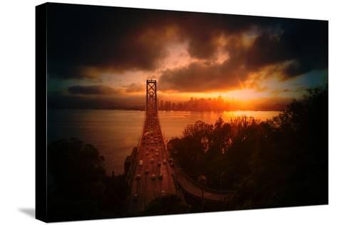 The Other Golden Bridge, Bay Bridge and Sun Burst, San Francisco-Vincent James-Stretched Canvas Print