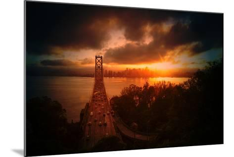 The Other Golden Bridge, Bay Bridge and Sun Burst, San Francisco-Vincent James-Mounted Photographic Print