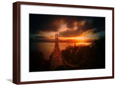 The Other Golden Bridge, Bay Bridge and Sun Burst, San Francisco-Vincent James-Framed Art Print