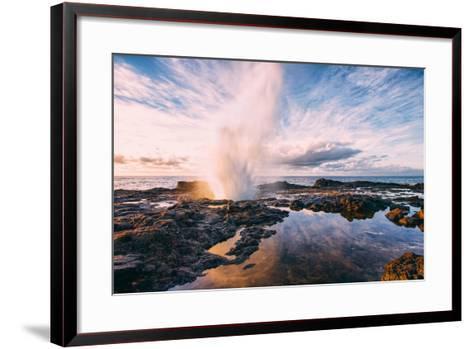 Powerful Spouting Horn and Morning Light Kauai Hawaii-Vincent James-Framed Art Print
