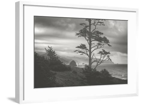 Moody Cannon Beach, Black and White, Oregon Coast-Vincent James-Framed Art Print