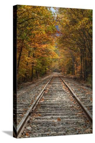 Autumn Railroad Tracks, White Mountain, New Hampshire-Vincent James-Stretched Canvas Print