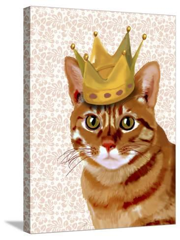 Ginger Cat with Crown Portrait-Fab Funky-Stretched Canvas Print