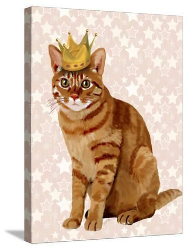 Ginger Cat with Crown Full-Fab Funky-Stretched Canvas Print
