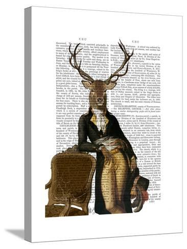 Deer and Chair Full-Fab Funky-Stretched Canvas Print