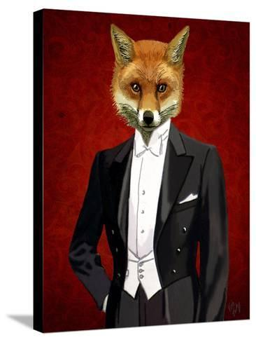 Fox In Evening Suit Portrait-Fab Funky-Stretched Canvas Print