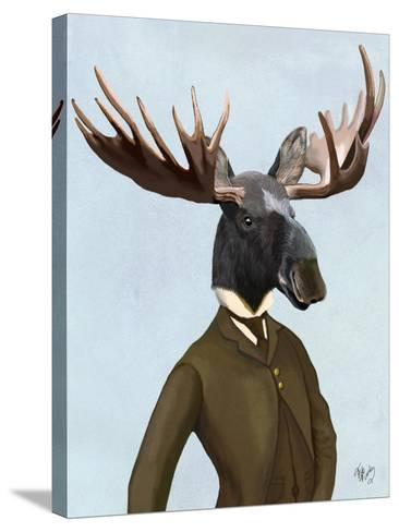 Moose In Suit Portrait-Fab Funky-Stretched Canvas Print