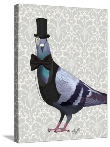Pigeon in Waistcoat and Top Hat-Fab Funky-Stretched Canvas Print