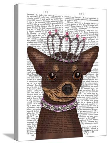 Brown Chihuahua And Tiara-Fab Funky-Stretched Canvas Print