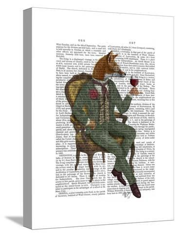 Wine Taster Fox Full-Fab Funky-Stretched Canvas Print