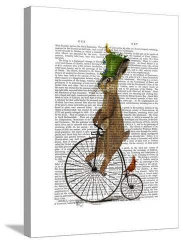 March Hare on Penny Farthing-Fab Funky-Stretched Canvas Print
