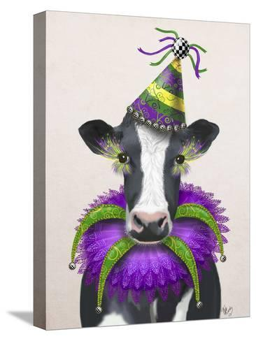 Mardi Gras Cow-Fab Funky-Stretched Canvas Print