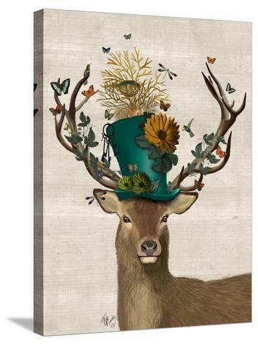 Mad Hatter Deer-Fab Funky-Stretched Canvas Print