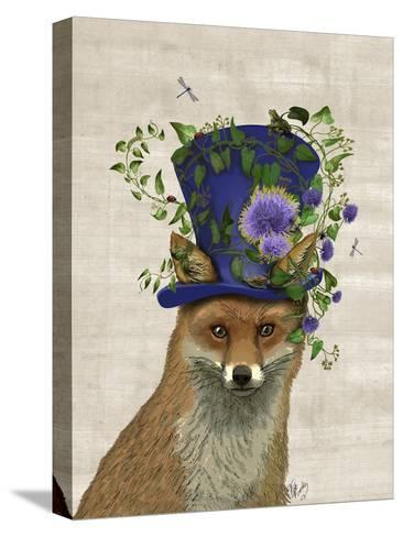 Fox Mad Hatter-Fab Funky-Stretched Canvas Print