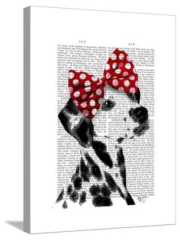 Dalmatian with Red Bow-Fab Funky-Stretched Canvas Print