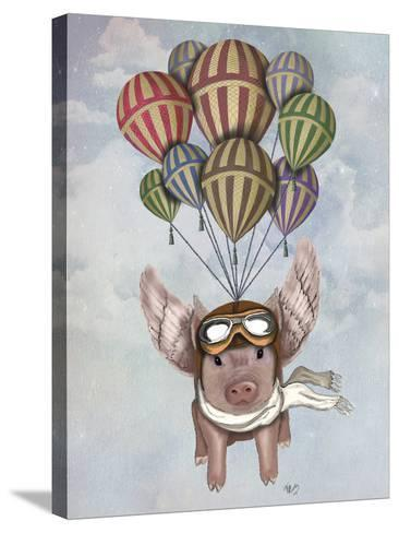 Pig and Balloons-Fab Funky-Stretched Canvas Print