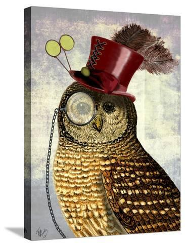 Owl With Top Hat-Fab Funky-Stretched Canvas Print