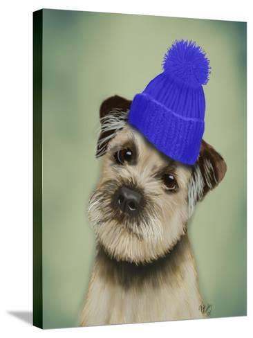 Border Terrier with Blue Bobble Hat-Fab Funky-Stretched Canvas Print