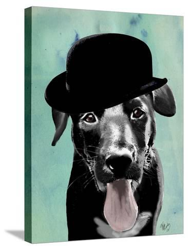 Black Labrador in Bowler Hat-Fab Funky-Stretched Canvas Print