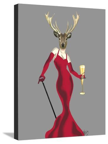 Glamour Deer in Red-Fab Funky-Stretched Canvas Print