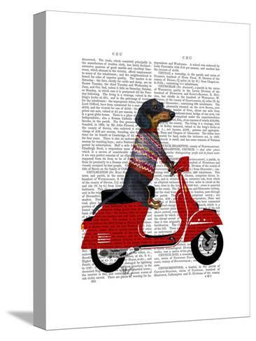 Dachshund on a Moped-Fab Funky-Stretched Canvas Print