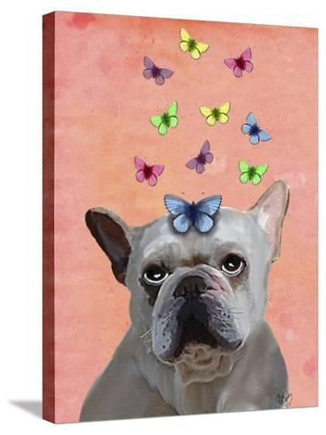 White French Bulldog and Butterflies-Fab Funky-Stretched Canvas Print