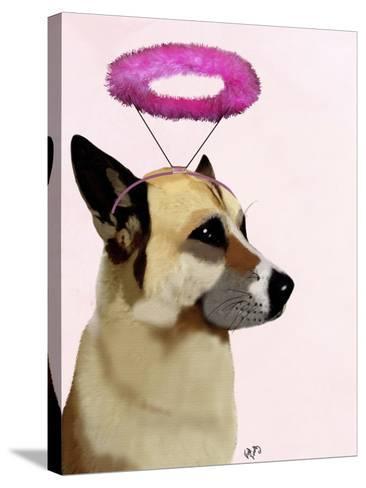 Dog with Pink Halo-Fab Funky-Stretched Canvas Print