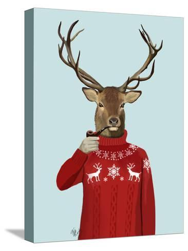 Deer in Ski Sweater-Fab Funky-Stretched Canvas Print