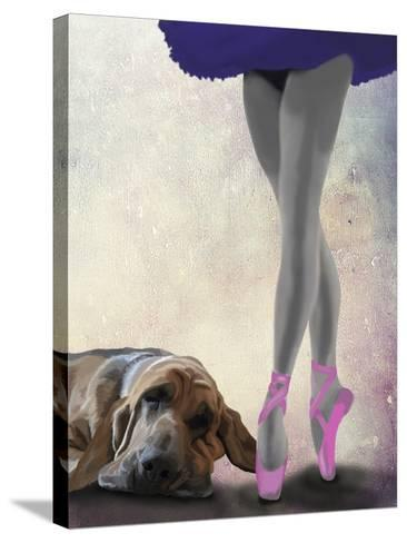 Bloodhound And Ballet Dancer-Fab Funky-Stretched Canvas Print