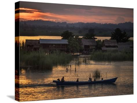 People in a Boat on the Irrawaddy River-Tino Soriano-Stretched Canvas Print