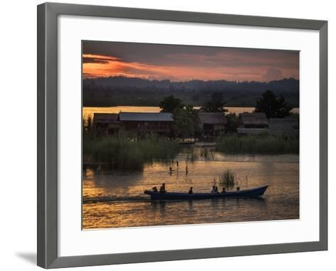 People in a Boat on the Irrawaddy River-Tino Soriano-Framed Art Print