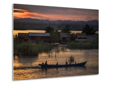 People in a Boat on the Irrawaddy River-Tino Soriano-Metal Print