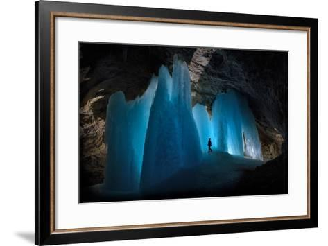 A Caver Is Dwarfed by the Scale of the Ice Formations in Eiskogelhoehle in the Austrian Alps-Robbie Shone-Framed Art Print