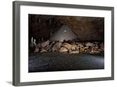 The Iconic Ice and Snow Cone in Schneevulkanhalle of Schwarzmooskogel Eishoehle-Robbie Shone-Framed Art Print