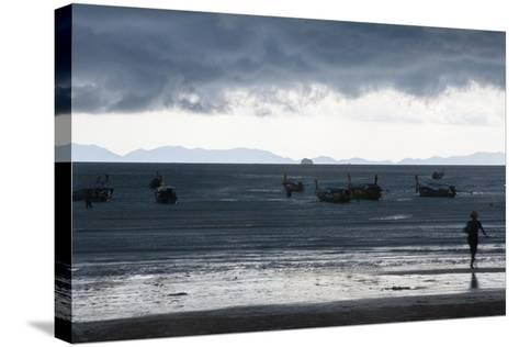 Fishermen Coming in as an Afternoon Storm Approaches Railay Beach-Erika Skogg-Stretched Canvas Print