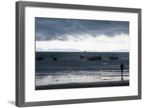 Fishermen Coming in as an Afternoon Storm Approaches Railay Beach-Erika Skogg-Framed Art Print
