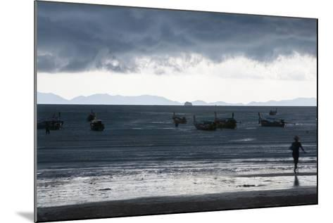 Fishermen Coming in as an Afternoon Storm Approaches Railay Beach-Erika Skogg-Mounted Photographic Print