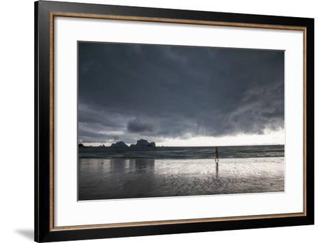 A Person Walking Along a Beach as an Afternoon Storm Approaches Railay Beach-Erika Skogg-Framed Art Print