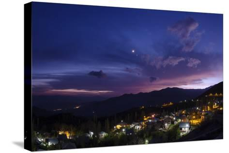 The Crescent Moon and Venus in Conjunction at Dusk, Above a Village in Iran's Alamut Valley-Babak Tafreshi-Stretched Canvas Print