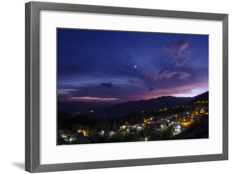 The Crescent Moon and Venus in Conjunction at Dusk, Above a Village in Iran's Alamut Valley-Babak Tafreshi-Framed Art Print